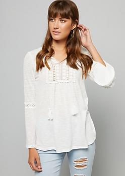 White Tied V Neck Crochet Bell Sleeve Top