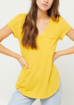 Dark Yellow Oversized Pocket Tee