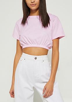 Light Pink Vintage Bubble Crop Top