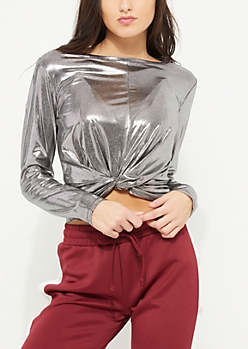 Silver Metallic Long Sleeve Knotted Crop Top