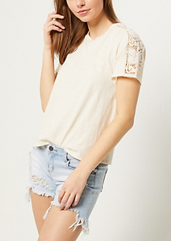 Ivory Crocheted Shoulder Boxy Slub Tee