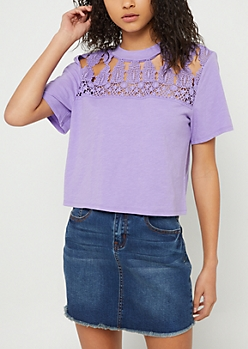 Purple Crocheted Boxy Slub Tee