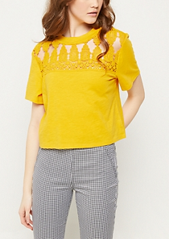 Dark Yellow Crocheted Boxy Slub Tee