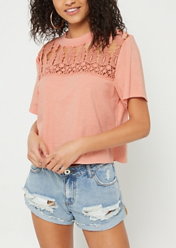 Salmon Crocheted Boxy Slub Tee