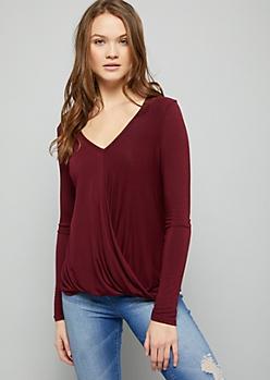 Burgundy V Neck Twist Front Long Sleeve Top