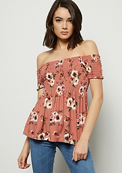 Pink Floral Print Super Soft Off The Shoulder Smocked Top