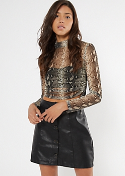 Snakeskin Print Ruched Side Mesh Crop Top