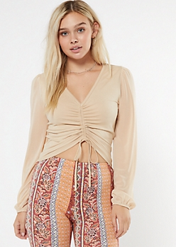 Taupe Ruched Front Long Sleeve Crop Top