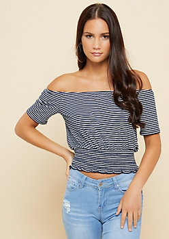 Navy Striped Smocked Waist Top
