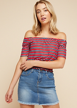 Red Multi Striped Off The Shoulder Smocked Top