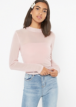 Pink Mesh Mock Neck Top