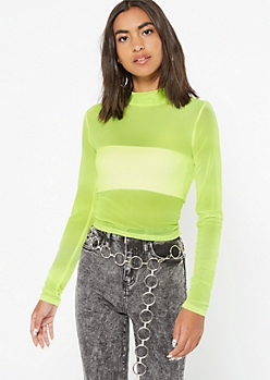 Neon Yellow Mesh Mock Neck Top