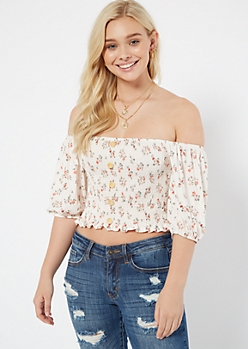 6ea3cb10a12 Ivory Floral Print Smocked Puff Sleeve Crop Top