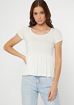 Ivory Super Soft Peplum Top