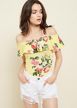 Yellow Floral Print Flounce Off Shoulder Bodysuit