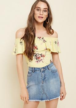 Light Yellow Floral Print Flounce Off Shoulder Bodysuit