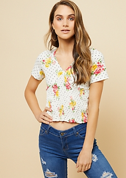 White Floral Dot Print V Neck Smocked Top