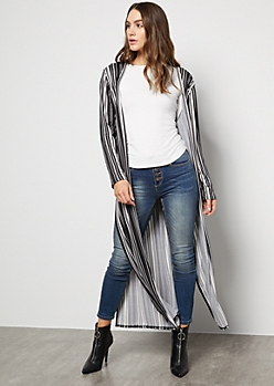 Black Striped Super Soft Vented Duster