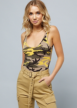 Yellow Camo Print Scoop Neck Bodysuit