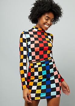 Rainbow Checkered Print Mock Neck Crop Top