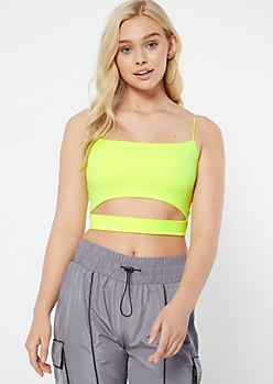 Neon Yellow Super Soft Cutout Crop Top