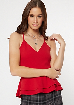 Red Lace Back Layered Peplum Top