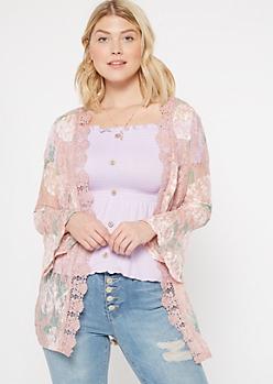 Pink Floral Print Lace Crochet Trim Kimono