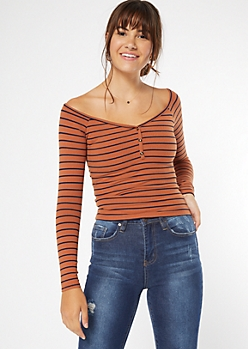 Burnt Orange Striped Off The Shoulder Tee