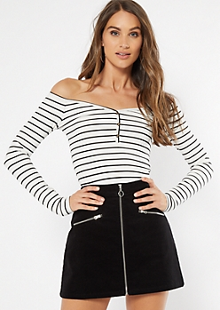 White Striped Off The Shoulder Tee
