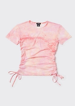 Peach Tie Dye ruched Side Mesh Baby Tee