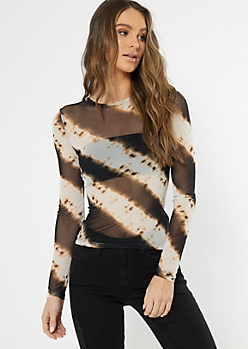 Black Tie Dye Mesh Top