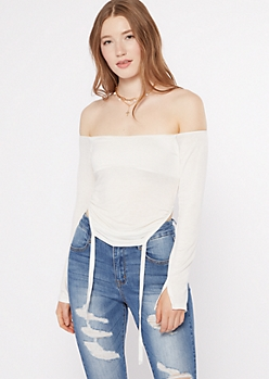 Ivory Off The Shoulder Ruched Top
