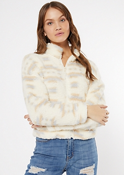 Cream Fair Isle Print Sherpa Sweatshirt