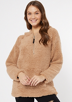 Tan Sherpa Half Zip Pullover