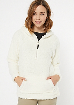 Ivory Sherpa Half Zip Hoodie
