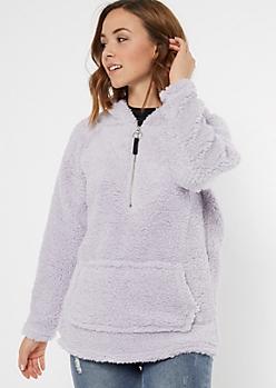Lavender Sherpa Half Zip Hoodie