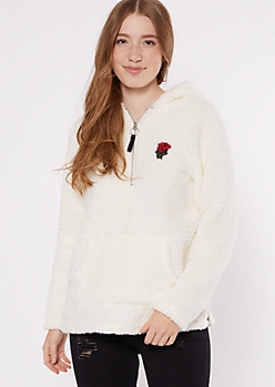 Ivory Sherpa Rose Embroidered Hoodie