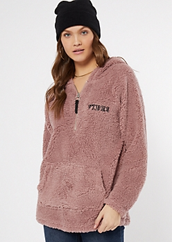 Mauve Sherpa Vibes Embroidered Hoodie