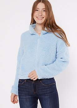 Blue Zip Up Sherpa Teddy Coat