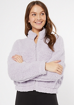Lavender Zip Up Sherpa Teddy Coat