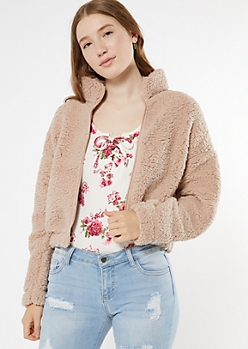 Taupe Active Sherpa Zip Up Jacket