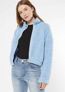Blue Active Sherpa Zip Up Jacket