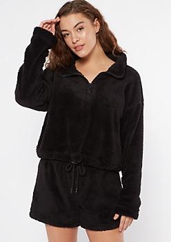 Black Sherpa Half Zip Pullover Sweatshirt