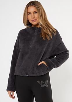 Charcoal Gray Sherpa Half Zip Pullover Sweatshirt