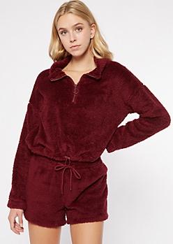 Burgundy Sherpa Half Zip Pullover Sweatshirt