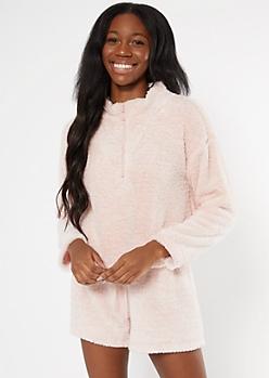 Pink Marled Sherpa Half Zip Pullover Sweatshirt