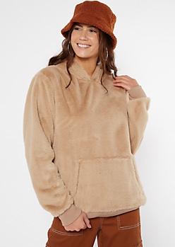Tan Faux Fur Cozy Hoodie