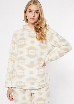 Ivory Printed Sherpa Hoodie