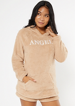 Tan Embroidered Angel Sherpa Hoodie