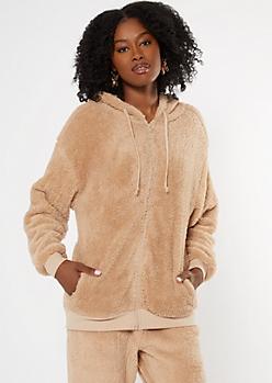 Tan Zip Up Sherpa Hoodie